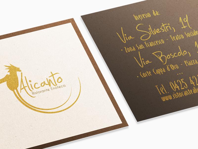 Corporate Identity Progettazione grafica Biglietti da Visita per Alicanto Ristorante Enoteca | by Studio PATh