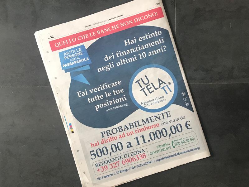 Progettazione e Impaginazione Newspaper per TutelaTi Associazione Consumatori   by Studio PATh