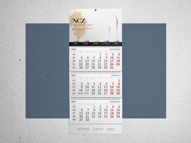 Progettazione Grafica calendario per NCZ Nuovo Colorificio Zagato | by Studio PATh