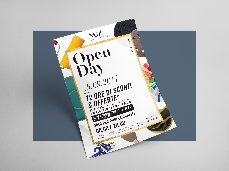 Progettazione Grafica Flyer Open Day 2017 per NCZ Nuovo Colorificio Zagato | by Studio PATh