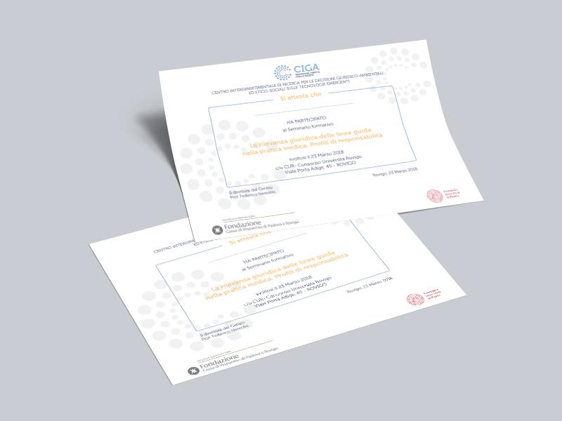 Progettazione Grafica Attestati Partecipazione per Centro CIGA | by Studio PATh